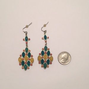 Jewelry - Aqua, Yellow, Orange Chandelier Earrings